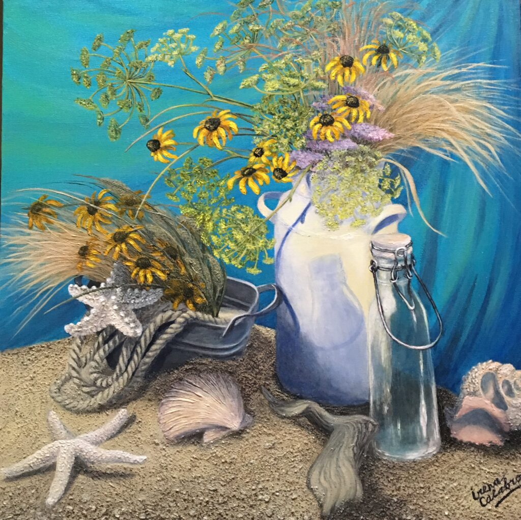 Still Life with Milk Bottle and starfish. Acrylic on Canvas 24x24""