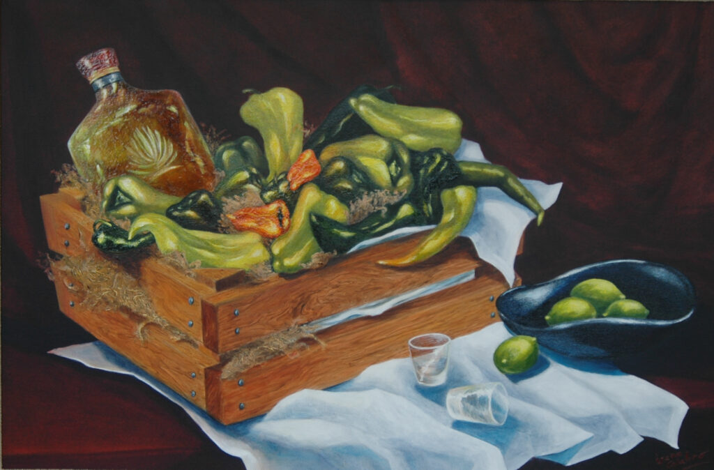 Still Life with Green Peppers. Acrylic on Canvas. 36x24""