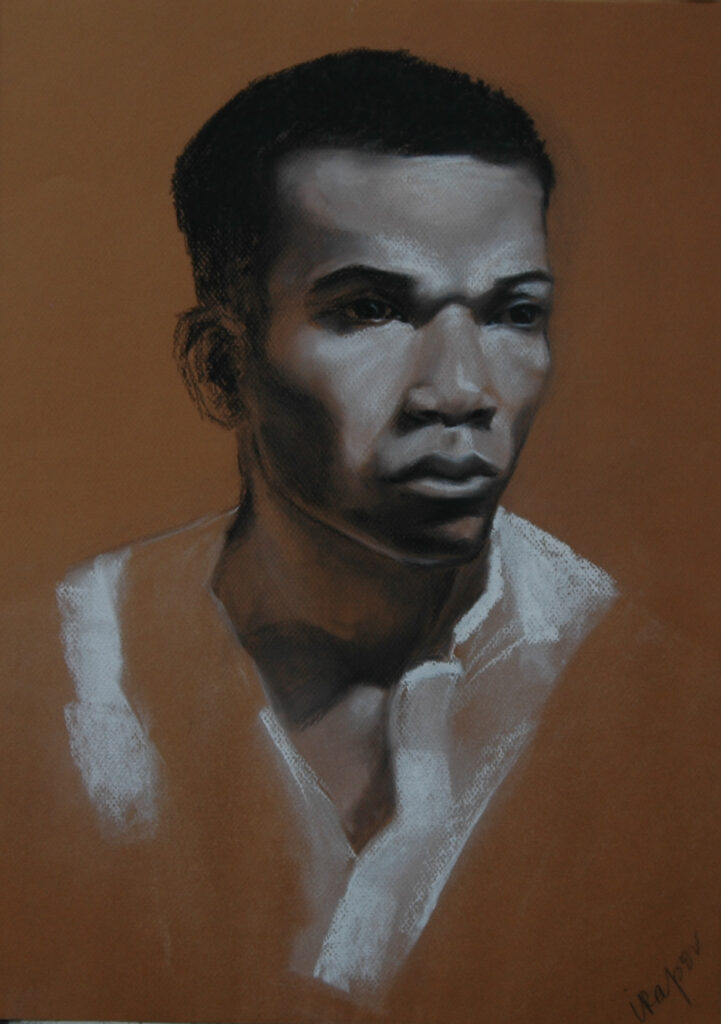 Portrait of a Young Man 2. Charcoal/Pastel on Paper. 20x16""
