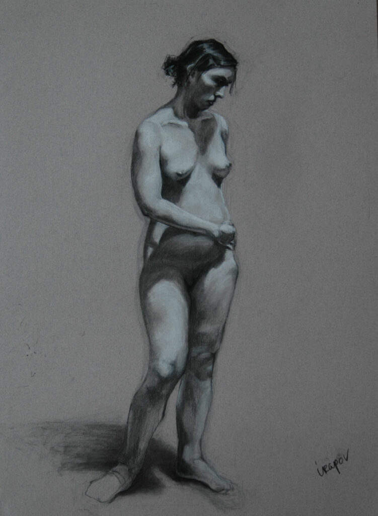Study of a Young Woman. Charcoal/Pastel on Paper. 24x18""