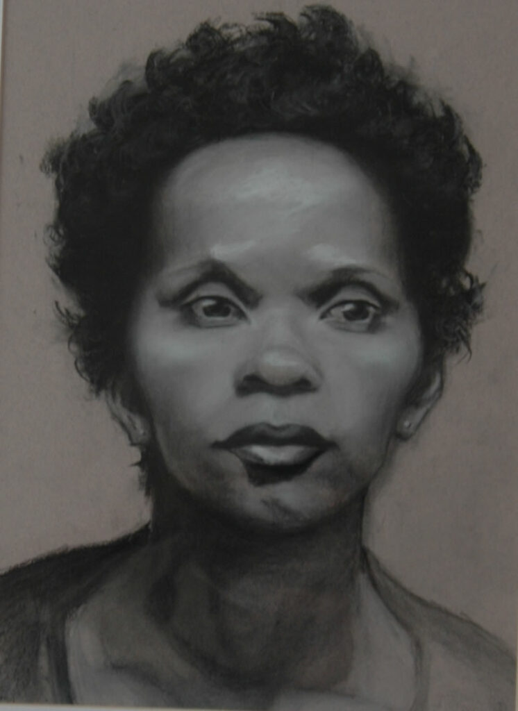 Portrait of Woman 1. Charcoal/Pastel on Paper. 20x14""