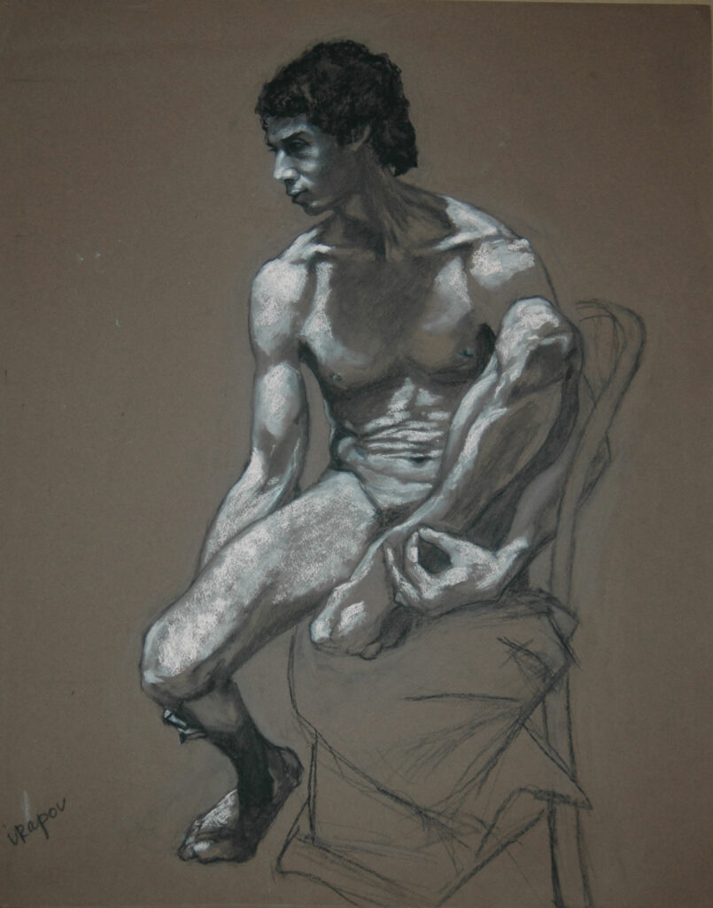 Young Man 1. Charcoal/Pastel on Papepr.24x18""