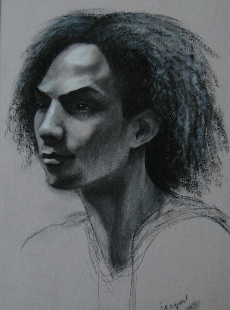 Portrait on a Young Man 2. Charcoal/Pastel on Paper. 24x18""