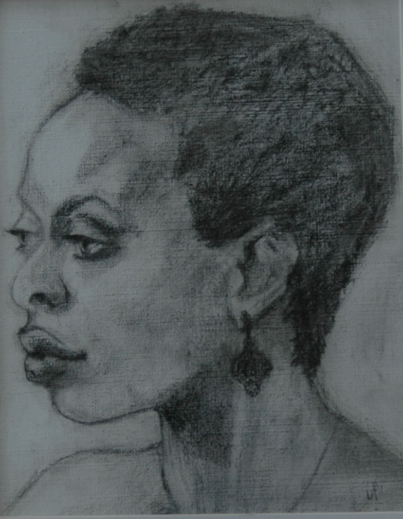 Portrait of a Woman 3. Charcoal on Canvas. 14x11""