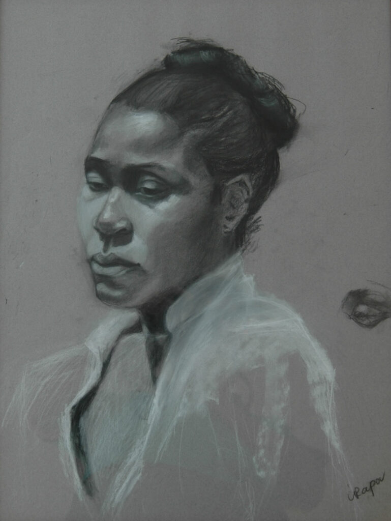 Portrait of a Woman 2. Charcoal/Pastel on Paper. 24X18""