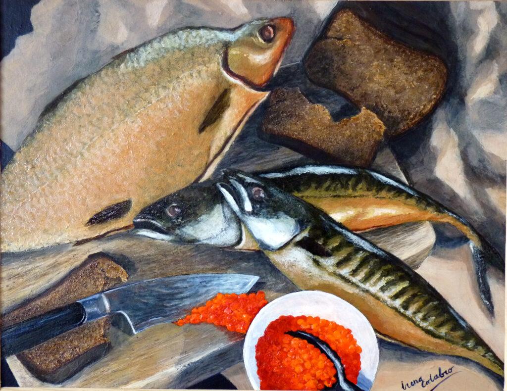 "Still Life with Smoked Fish. Acryllic on canvas. 20x16"""