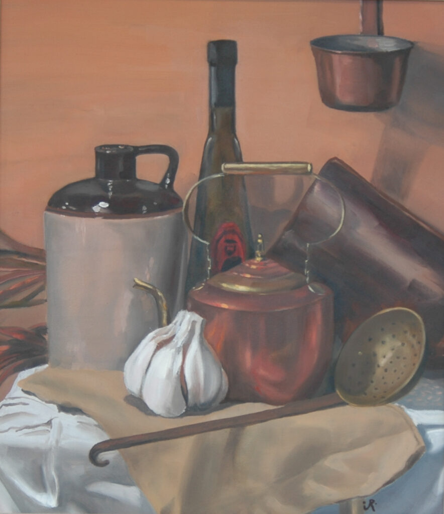 """Still Life with Pots and Garlic Clove. Oil. 20x18"""""""