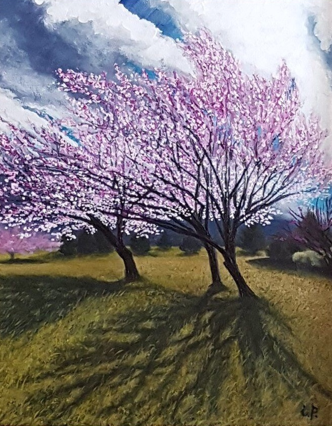 "Plum Trees. Acrylic on canvas. 24x18"""